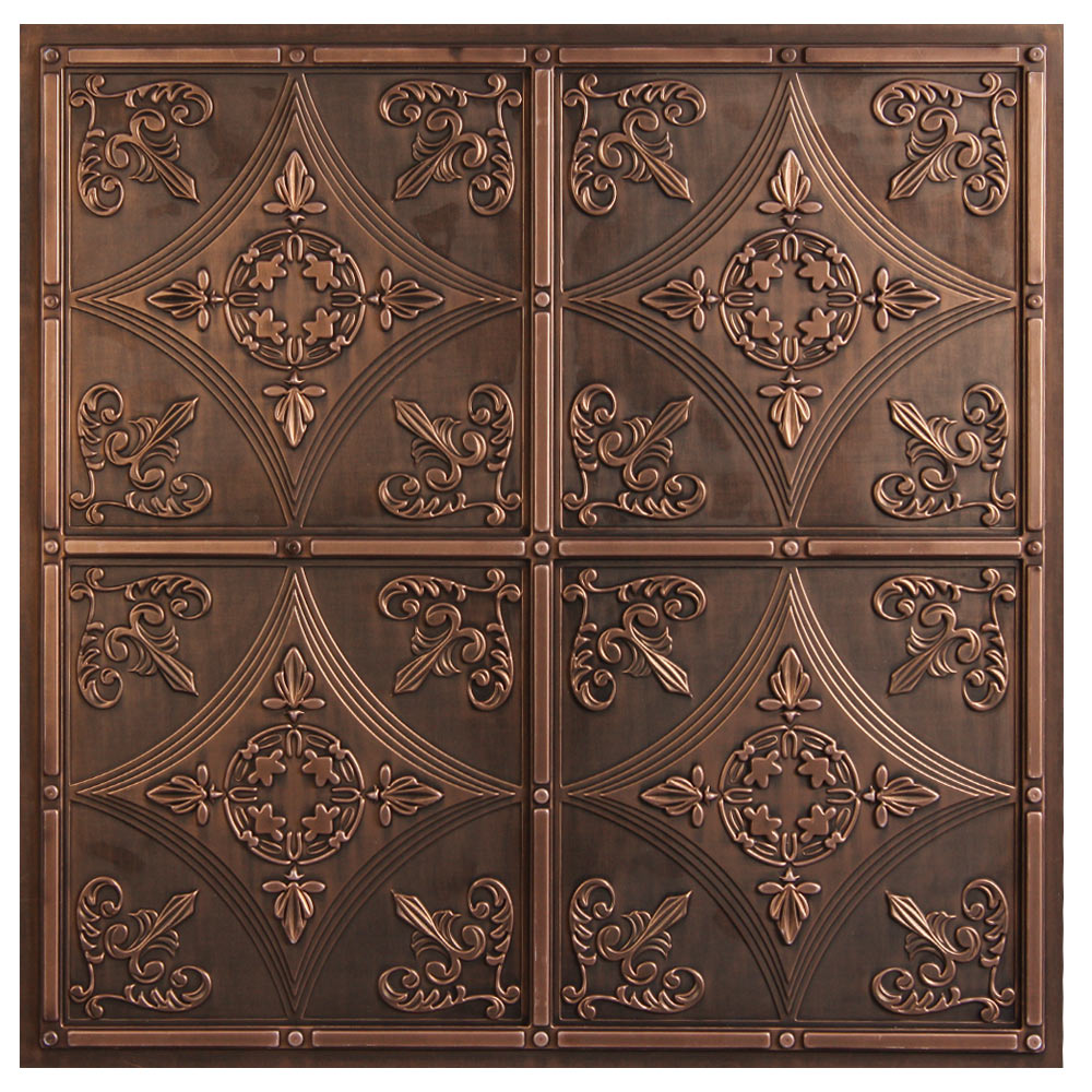 Antiqued faux metal ceiling tiles intersource specialties cathedral bronze dailygadgetfo Gallery